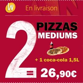 2 PIZZAS MEDIUMS ET COCA 1,5L